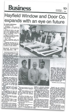 News Article in the Business section titled, Hayfield Window & Door Co. expands with an eye on future