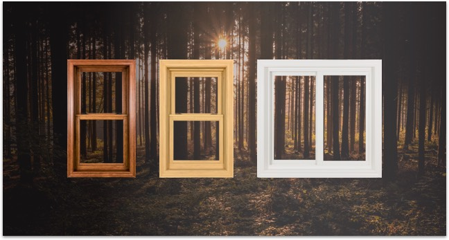 Three different color treatments (Dark wood texture, light wood texture, and clean white) and window layouts to the Heritage Series windows