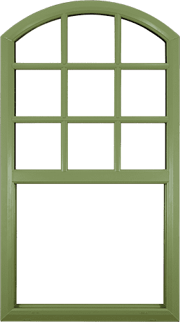 Example of a rounded-top, green, wood-textured vinyl window with matching crossbars